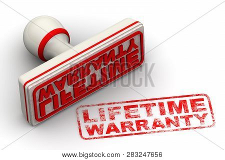 Lifetime Warranty. Seal And Imprint. Red Seal And Imprint Lifetime Warranty On White Surface. Isolat