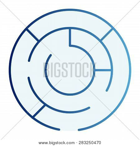 Round Labyrinth Flat Icon. Circle Maze Blue Icons In Trendy Flat Style. Intricacy Gradient Style Des