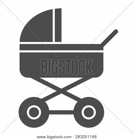 Baby Stroller Solid Icon. Baby Carriage Vector Illustration Isolated On White. Pram Glyph Style Desi