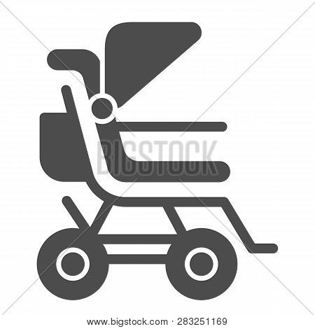 Stroller Solid Icon. Baby Pushchair Vector Illustration Isolated On White. Buggy Glyph Style Design,