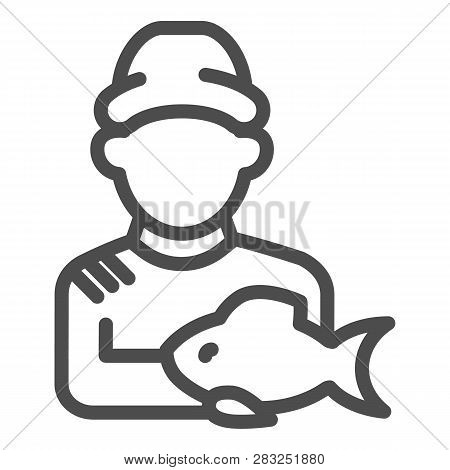 Fisherman With Fish Line Icon. Fisher And The Catch Vector Illustration Isolated On White. Angler Ou