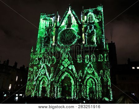 Lyon France, 7 December 2018 : Lyon Cathedral View During Fete Des Lumieres - Festival Of Lights In