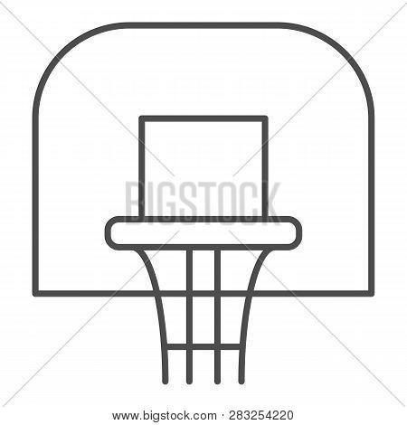 Basketball Hoop Thin Line Icon. Basketball Ring Vector Illustration Isolated On White. Basketball Ne
