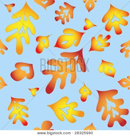 Seamless Repeating Autumn Leaves Pattern Swatch