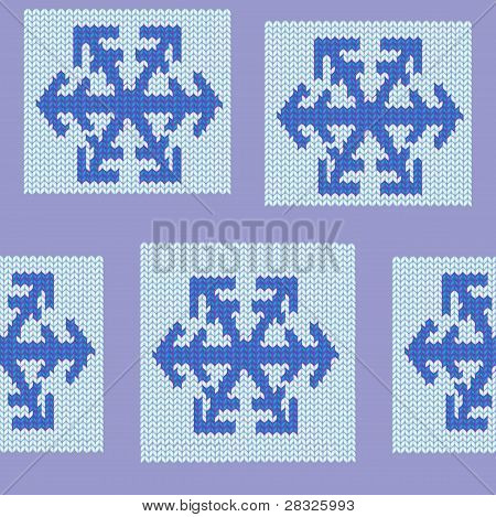 Seamless Repeating Patchwork Knit Snowflake Pattern Swatch