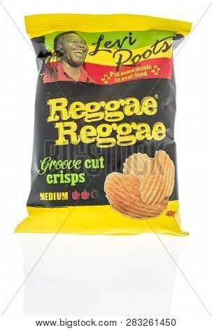 Winneconne, Wi - 5 February 2019: A Package Levi Roots Reggae Reggae Groove Cut Chips On An Isolated