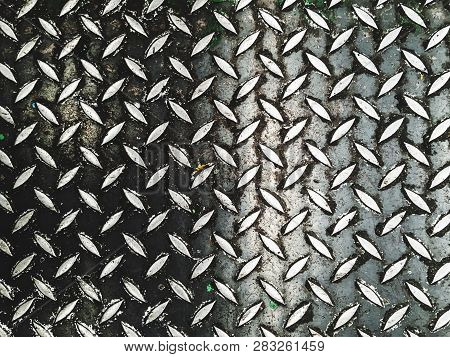 Abstract Pattern Background Steel Floor In Industrial Factory, Steel Plate With Indent Trace Backgro