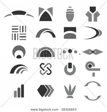 Set of abstract design elements