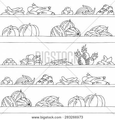 Shelves Graphic Seamless Pattern Black White Background Fruits And Vegetables Sketch Illustration Ve