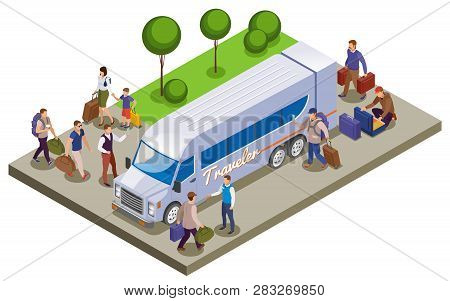 Travel People Isometric Composition With Passengers Meeting On Tourist Bus Station For Traveling Vec