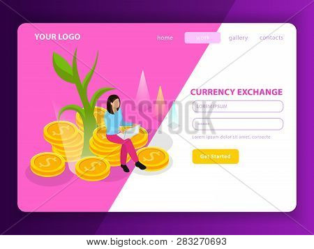 Stock Exchange Isometric Landing Page Composition With Registration Form Named Currency Exchange And