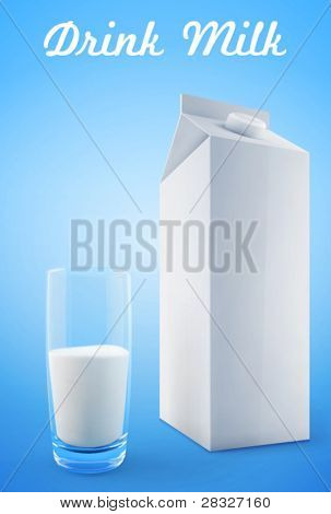 Glass of milk with a big blank milk pack. Vector