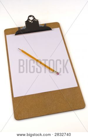 Clipboard, Paper And Pencil