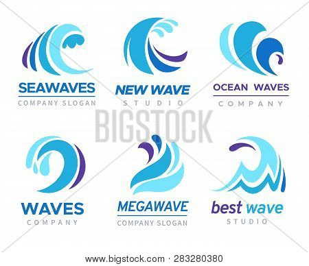 Sea Wave Logo. Ocean Storm Tide Waves Wavy River Blue Water Splash Design Emblems Labels Vector Isol