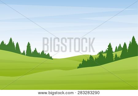 Vector Illustration: Flat Cartoon Summer Landscape With Green Hills And Pine Forest.