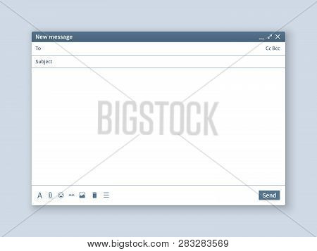 Blank Email Screen. Mail Message Interface Blank Mockup Internet Window Computer, Box Page Web Softw