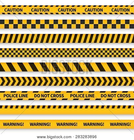 Police Tape. Yellow Taped Barricade Warning Danger Police Stripes Crime Safety Line Attention Border