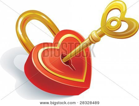 Key and lock in heart shape