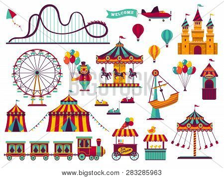 Amusement Park Attractions Set. Carnival Amuse Kids Carousels Games Fairground Attraction Play Rolle