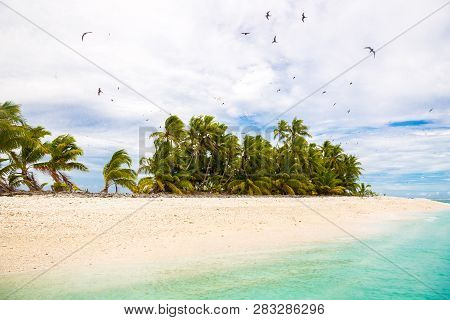 Small Remote Tropical Island Motu Overgrown With Palms In Azure Turquoise Blue Lagoon. Yellow Sandy