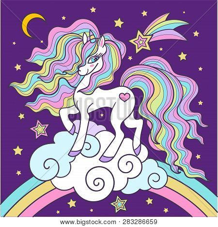 Beautiful White With A Long Mane, A Unicorn On A Rainbow. For Design Prints, Posters, Etc. Vector