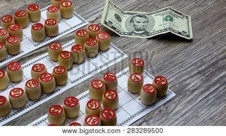 Lottery And Gambling.ottery And Gambling.win Big Money. Win The Lottery. Lotto Game. Tabletop Old Lo