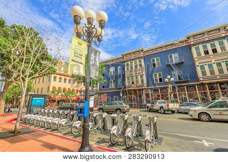 San Diego, California, United States - July 31, 2018: San Diego Gaslamp Quarter By Bike. Discover Bi