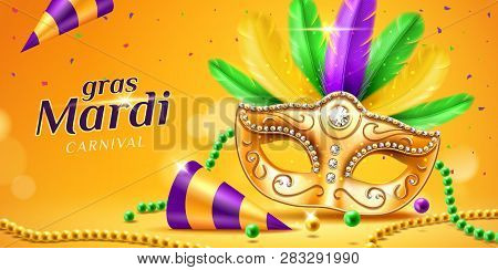 Mardi Gras Parade Banner With Masquerade Or Carnival Mask And Beads, Feather And Confetti, Cone Hat.