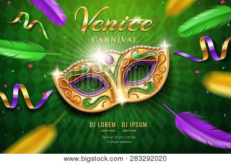 Poster With Masquerade Mask For Mardi Gras Festival. Venetian Carnival Face Cover Part With Feather