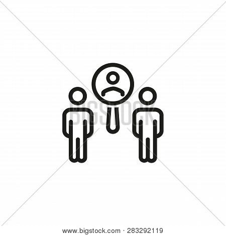 Employee Recruitment Line Icon. Zoom, Examining, Choosing. Resources Concept. Can Be Used For Topics