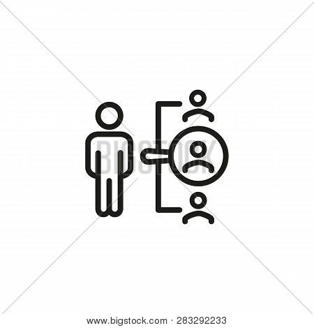 Hr Manager Line Icon. Recruiter, Selection, Headhunter. Choosing Candidate Concept. Can Be Used For