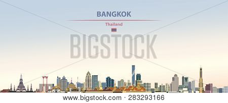 Vector Illustration Of City Bangkok Skyline On Colorful Gradient Beautiful Day Sky Background With F