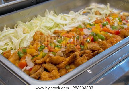 A Delicious Thai Food In Dish For Buffet