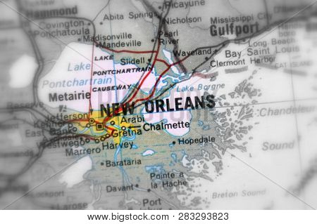 New Orleans, A City In The United States Of America, Usa (black, White And Color Selective Focus).