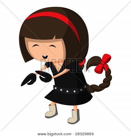 A girl dressed up like a sign of zodiac. Scorpio.