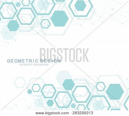 Abstract Hexagonal Background. Hexagonal Molecular Structures. Futuristic Technology Background In S