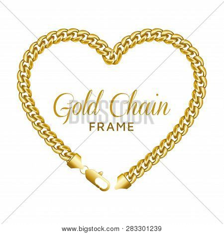 Gold Chain Heart Love Border Frame. Wreath Shape With A Lobster Lock. Realistic Vector Illustration