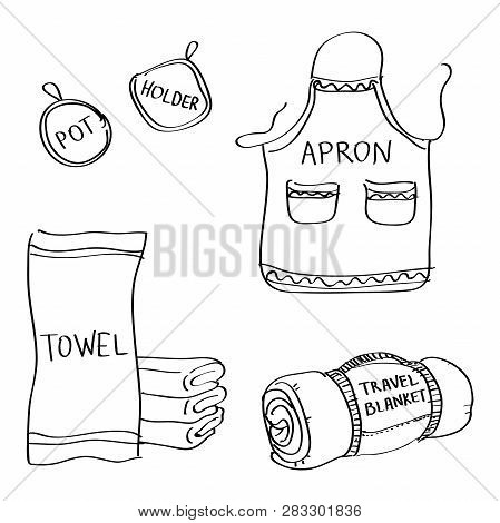 Set Of Hand Drawn Kitchen Goods Doodles Isolated On A White Background. Vector Illustrations Of Apro