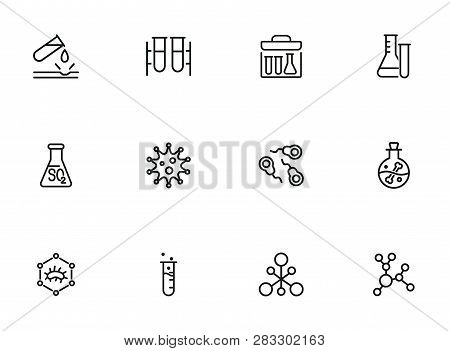 Chemical Reaction Line Icon Set. Set Of Line Icons On White Background. Molecule, Structure, Atom, F