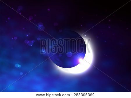 Mystical Night Sky Background With Half Moon And Stars. Moonlight Night. Vector Illustration.