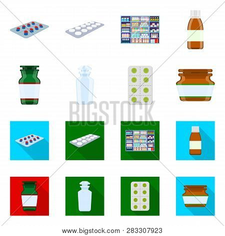 Vector Illustration Of Retail And Healthcare Sign. Collection Of Retail And Wellness Vector Icon For