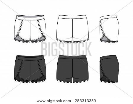 Blank Clothing Templates Of Women Pompom Beach Shorts In Front, Side, Back Views. Vector Illustratio