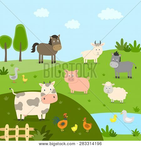 Farm Animals With Landscape - Cow, Pig, Sheep, Horse, Rooster, Chicken, Duck, Hen, Goose. Cute Carto