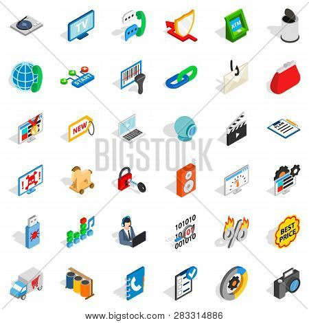 Www Management Icons Set. Isometric Style Of 36 Www Management Icons For Web Isolated On White Backg