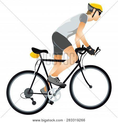 Cartoon Sportsman Bicyclist In Helmet Riding Bicycle In Sportswear