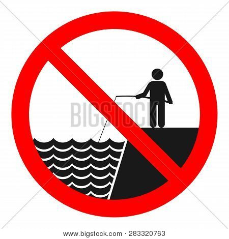 No Fishing Sign. Isolated On White Background. Vector.
