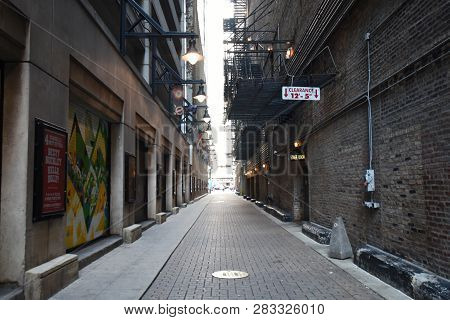 Back Alley Behind Nederlander Theater In Chicago Theater District, Look, Chicago, Il September 11, 2