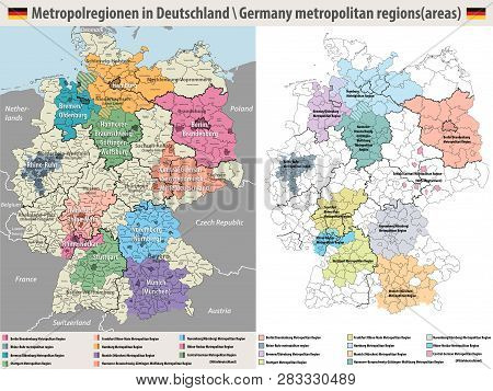 Germany Metropolitan Regions Vector Isolated Map On White Background