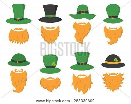 Set Of Different Piece Photo Booth Props With Irish Leprechaun (hat And Beard). Vector Illustration.