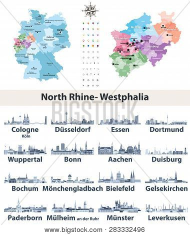 Vector Map Of Germany With State Norrth Rhine-westphalia Map Separately With Largest Cities Skylines